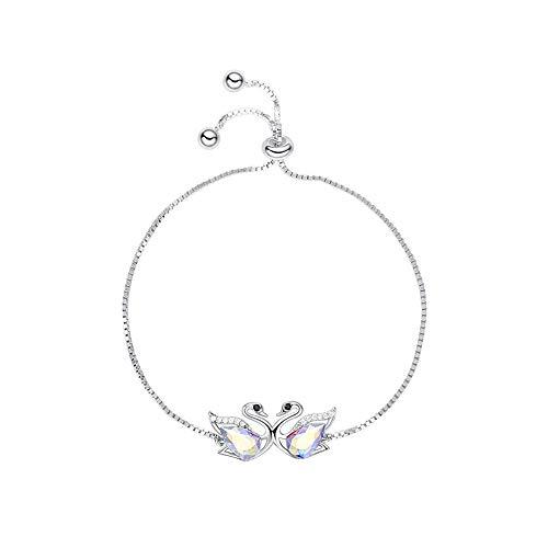 NIMUIL 925 Sterling Silber Damen Armband Schwan Verstellbar Armband mit Kristallen von Swarovski, Frauen Mädchen