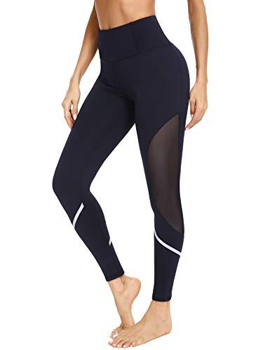 Sykooria Sport Mesh Leggings Damen Blickdicht Fitnesshose Hohe Taille Yogahose mit Taschen für Sport und Alltag