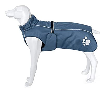 Morezi Dog Coats Waterproof, Dog Winter Coat with Padded Fleece Lining, Outdoor Dog Clothing with Adjustable Bands and Drawstring in winter - Navy - L