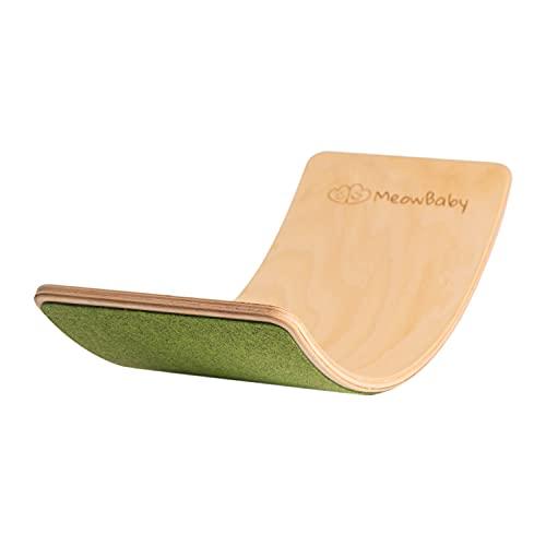 MEOWBABY Balance Board Balancierbrett aus Holz 80x30 cm Wackelbrett Filz für Kinder Gleichgewicht Spielzeug für Baby Kurviges Board Montessori Waldorf Pikler Grün Made in EU