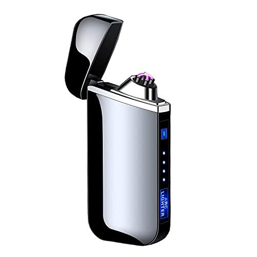 Saibit elektrisches Feuerzeug, elektronisches Doppelbogenfeuerzeug Winddichtes flammenloses Sicherheitsfeuerzeug mit USB-Akku für Zigarette, Kerze, Grillkochherd (schwarz)