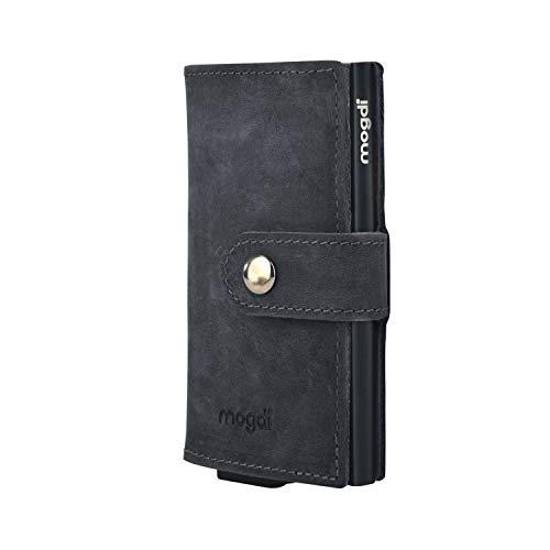mogdi Mini Black Premium Herren Portmonee RFID Schutz Kartenetui Business Geldbörse feinstes A++ Echtleder Wallet Geldbeutel (schwarz)