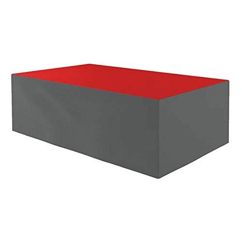 Planesium - Funda protectora para mesa de jardín (impermeable, transpirable, 575 g/lfm, 180 x 100 x 75 cm), color rojo y gris