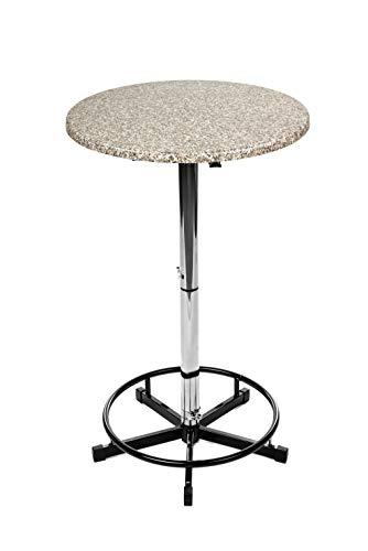 Stehtisch, Bistrotisch, Gartentisch, Edelstahl, klappbar rund höhenverstellbar Granit ⌀70cm