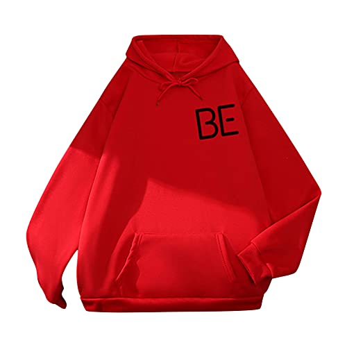 Harpily Sudaderas Mujer con Capucha Color Lisas Camiseta de Manga Larga Túnica Suéter con Cordón Chaqueta con Bolsillos Abrigo Jersey Otoño-Invierno Oversize Hoodie Blusa Calle BBS01 (Rojo, XL)