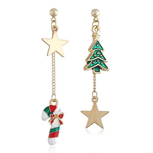 TONVER Weihnachts-Ohrringe, 1 Paar, vergoldet, Weihnachtsmann, Weihnachtsbaum-Design, asymmetrische Ohrringe, Modeschmuck für Frauen und Mädchen Christmas Cane Tree