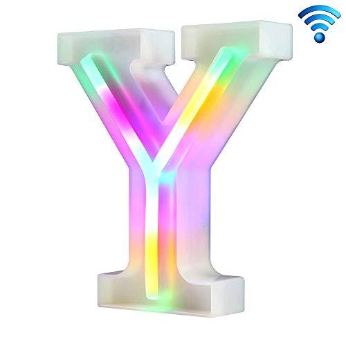 Lettre néon coloré s'allume 26 lettres lumineuses pour la fête d'anniversaire de mariage alimenté par batterie Lampe de Noël Bar à la maison Décoration de la chambre (Y, sans télécommande)