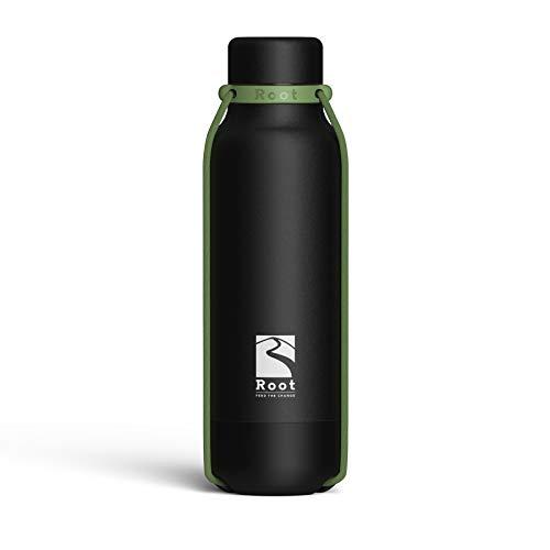 Root-FTC Edelstahl Trinkflasche/Wasserflasche mit Deckel in 10 n - 530ml - Thermo Isolierflasche für jedes Getränk, Heiß & Kalt (~24 h) - Trainingsflasche Schwarz