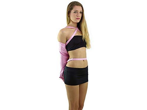 Elite Bondage Armbinder mit Taillengürtel pink Lederfesseln Monohandschuh
