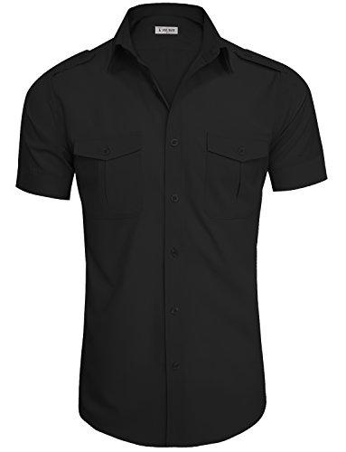 TAM WARE Men#039s RegularFit ShortSleeve Casual Plain Button Down Dress Shirts TWCMS19AS20BLACKUS L