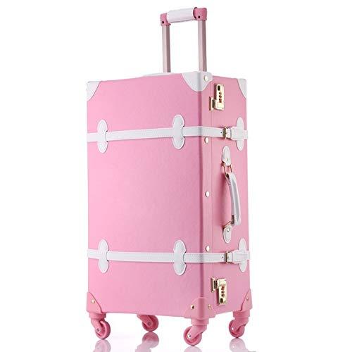 "Mdsfe Maleta Snugcozy Princess Serie Travel Boardable Maleta Tamaño de 20/22/24 Pulgadas Bolsos y Spinner para Equipaje rodante - Rosa Blanco, 24"""