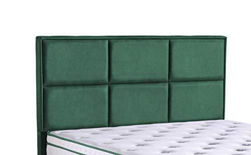 Cama canapé Madrid con canapé de tela, cama doble color verde oscuro, tamaño 180 x 200 cm