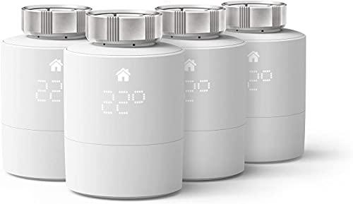 tado° Testa Termostatica Intelligente - Quattro Pack, prodotto aggiuntivo per il controllo multi-stanza, gestione intelligente del riscaldamento, facile installazione fai da te