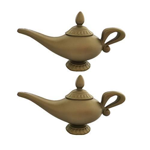 Amosfun 2 pz Plastica Aladdin Lampada Magica Lampada Genio Olio Arabo per Bambini Accessori Costume Cosplay Tabella di Casa Forniture Decorazione