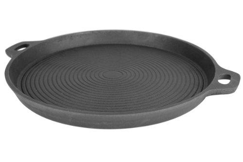 Grillplanet 5340 Gusseisenpfanne Grillpfanne BBQ Gusseisen Grillplatte Steakpfanne 35 cm rund Pfanne für Herd, Grill und Kugelgrill