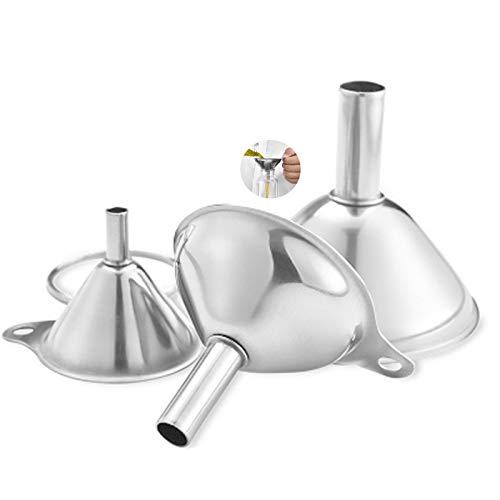 Set de Embudos de Cocina,3 Piezas Embudo de Cocina Mini Embudo de Acero Inoxidable Embudo De Filtro con Mangos Antideslizantes Coladore para Aceites para La Transferencia de Aceites Esenciales Líquido