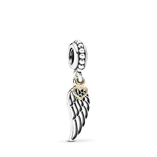 MiniJewelry Abalorio colgante con forma de ala de ángel y corazón para pulseras, diseño de alas...