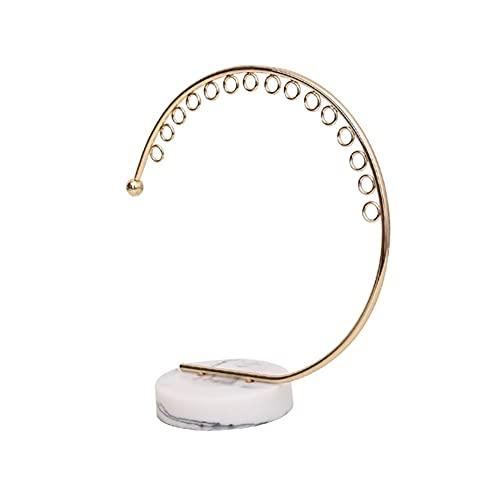 BIAOYU Nordic Jewelry Stand Estante de exhibición de joyería imitación mármol patrón estante minimalista metal joyería estante para pendientes/collares/anillos mostrador organizador de joyas colgante ⭐