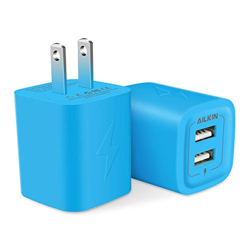 AILKIN USB Charger Wall Plug, [2Pack-2Port] Fast Charging Outlet AC Power Adapter Block Cube for iPhone, Samsung, Camera, Android or Type C Phones & Tablets Charge Multiple USB Hub Station Base