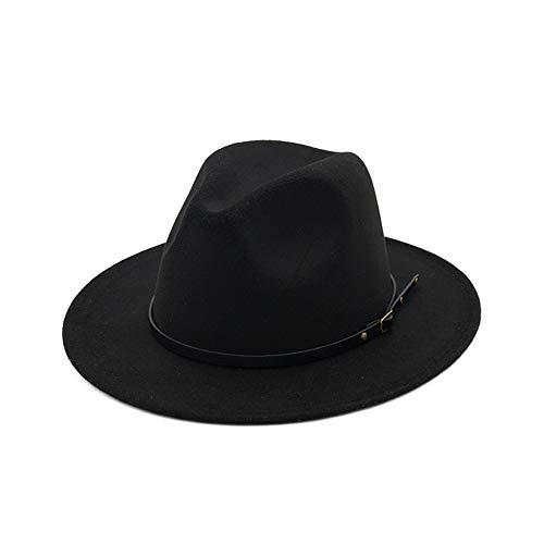 YKF-SYZ Elegante kap Soft Jazz hoed unisex jazz hoed herfst en winter Engeland retro hoed vrouwen getijden dames wollen muts 55-58Cm11X7Cm, zwart