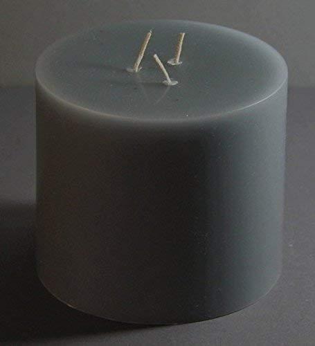 Dreidochtkerze, Mehrdochtkerze, Kerze, Stumpen, rund, grau, Durchmesser 13 cm, H:11 cm, 3 Dochte, Brenndauer 60 Std.