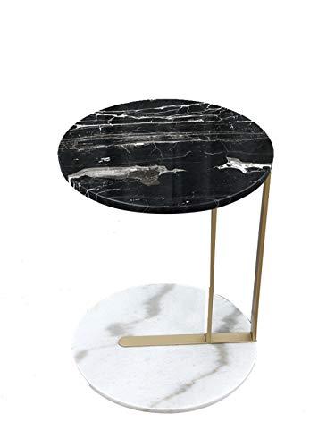 SZQ-Table Basse Marbre Naturel Table Basse Moderne Ronde Style Minimaliste Double Couche De Rangement Canapé Côté Salon Petite Table D'appoint Table de sofa (Size : 50 * 50 * 60CM)