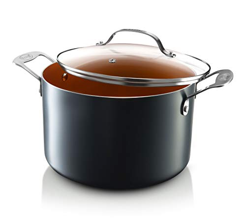 Gotham Steel Stock Pot with Ultra Nonstick Ceramic and Titanium Coating Includes Tempered Glass Lid...