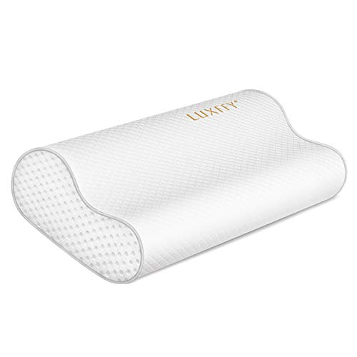 LUXFFY Memory Foam Sleeping Pillow : Cervical Contour Pillows for Neck, Adjustable Orthopedic Sandwich Pillows, Neck Support Memory Pillow for Back, Stomach, Side Sleepers