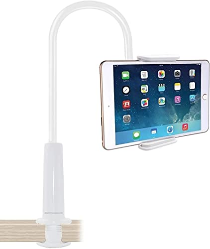 Supporto per tablet o cellulare – Supporto con braccio a collo di cigno per serie iPad o tablet, lunghezza totale 75 cm (bianco)