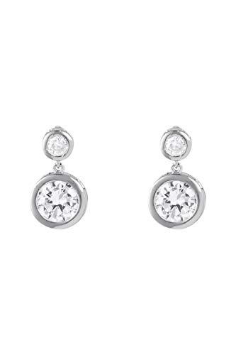 Córdoba Jewels | Pendientes en Acero inoxidable con diseño Duo Chaton Zirconium Silver