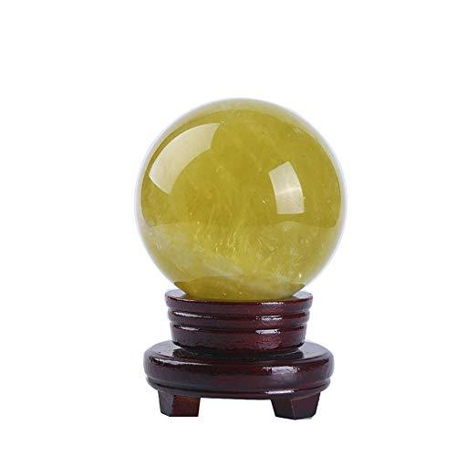 eLy Joyas de Bolas de Cristal de topacio Natural, Joyas de Bolas de Cristal, Exquisitamente Redondas, con Base de Madera, Adecuado para curación, Adivinación, Protección, Amarillo