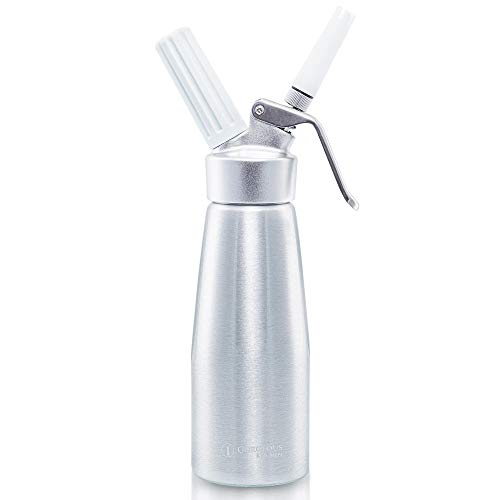 Professional Whipped Cream Dispenser 250ml Aluminum Cream Whipper, Durable Stainless Steel Coffee Spoon, 3 Decorating Nozzles, Charger Holder and Cleaning Brush (N2O Cartridge not Included)