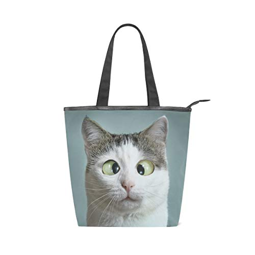 Cute Funny Pet Cat Canvas Tote Bag with Zipper Large Women's Casual Shoulder Bag Handbag, Reusable Multipurpose Heavy Duty Shopping Grocery Canvas Bag for Outdoors