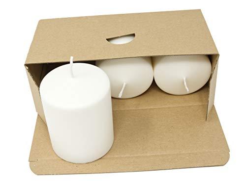 Coraz Home - Juego de velas de pilar natural sin perfume de cera natural sin parafina, color blanco natural, luces de noche, plástico libre en caja Kraft (juego de 3 velas de pilar, 70 mm x 90 mm)