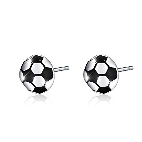 Muttertag Schmuck Ohrstecker für Männer Frauen Teen Mädchen 925 Sterling Silber Fußball Ohrringe (Fußball)