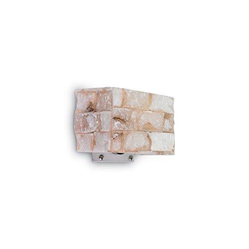 L'Aquila Design Arredamenti Ideal Lux Lampe à paroi Carrara AP1 Couleur albâtre et Monture en métal
