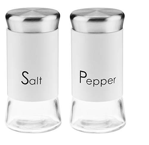 KADAX Salz-und Pfefferstreuer, 2er Set, 150ml, Streuer aus Glas und Edelstahl, Salzstreuer mid Deckel, Tischset, Gewürzgläser (Weiß)
