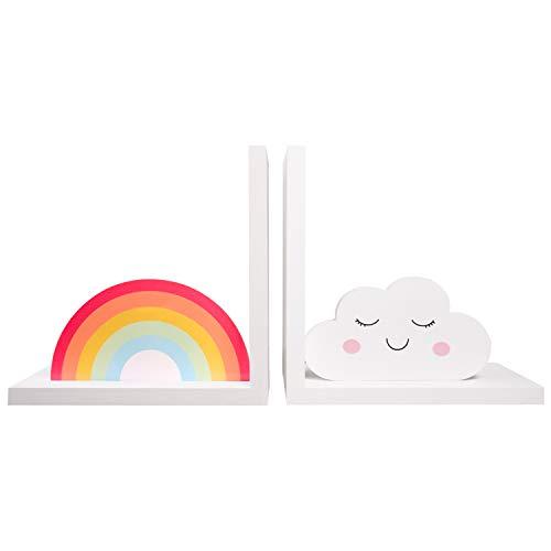 CasaNita Decorative Home & School Kids Bookends, Cute Rainbow Decor for Heavy Books