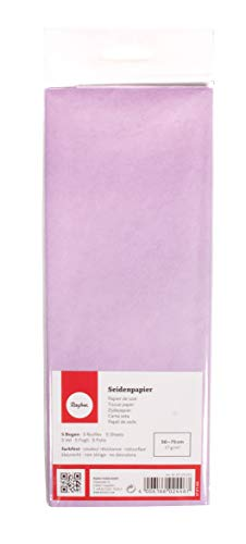 Rayher 67270312 Seidenpapier, lavendel, 50x75cm, 5 Bogen, 17g/m², lichtecht, farbfest, leicht transparentes, dünnes Papier, Geschenkpapier, Papier zum Basteln