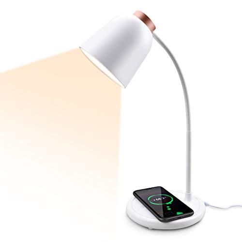 Collen Schreibtischlampe, LED Tischlampe mit Induktiv Wireless Charger Dimmbar Tischleucht Augen schützen 10W 3 Beleuchtungsmodi, mit Speicherfunktion[Energieklasse A](Rosegold)