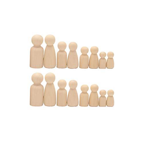 Amacoam Figurine Bois a Peindre Poupée en Bois Bricolage Inachevé en Bois Peg Poupée Corps Naturel en Bois Poupée Gens Plaine Blanc Décoratif pour Création Bricolage Décoration Ornement 16 Pièces