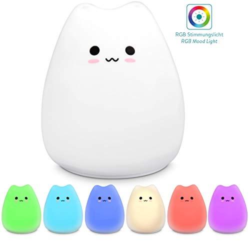 Navaris lámpara LED de gato - Luz de noche para bebé o niño - Lámpara nocturna de gatito - Luz pequeña con cambio de color - Tamaño XS