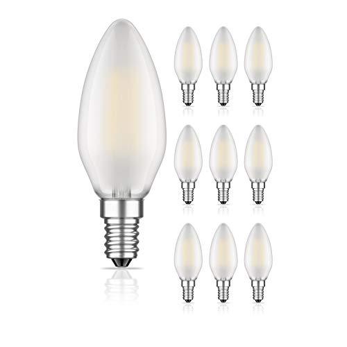 ledscom.de E14 LED Kerzenlampe Glühfaden matt 4W =35W 400lm warm-weiß A++ auch wetterfest, 10 Stk.