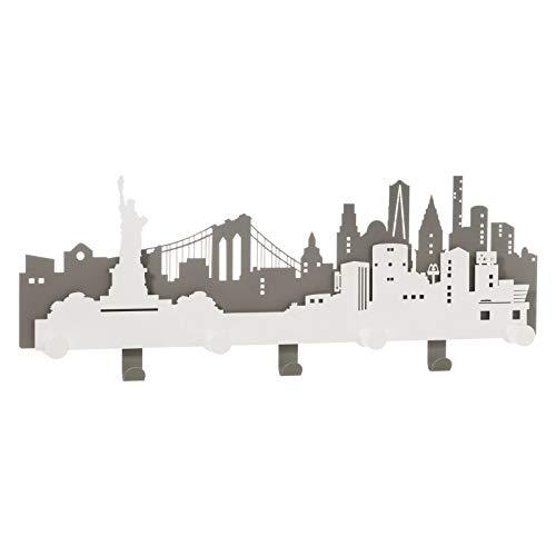 ARTI E MESTIERI 0AP3381C161 Appendiabiti da Parete N.Y.C. New York La Grande Mela Ardesia Bianco Marmo Made in Italy