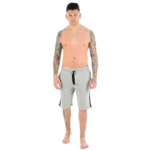 Pantaloncini da uomo da uomo, comodi, elasticizzati, in policotone, pigiama, pigiama, pigiama, pigiama, pigiama, tinta unita, casual, palestra, leggero, taglie S-2XL 1 X Navy & 1 X Grigio / 2 Pack XL