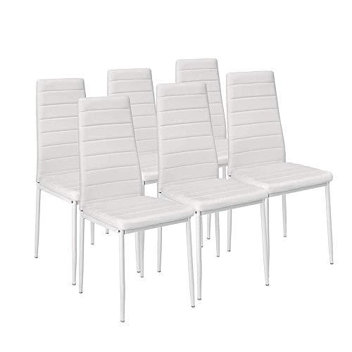 EBS My Furniture Set Sala da Pranzo Tavolo da Pranzo in Vetro Temperato Lucido con Gambe in Metallo e Sedie da Pranzo di Moda Ecopelle (Bianco  6 sedie)
