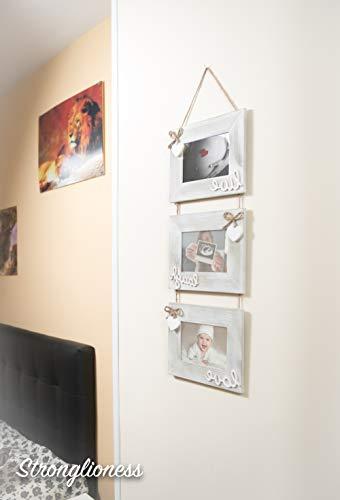 Mehrfach-Fotorahmen, Fußabdruck für Babys, Wanddekoration, für 3 Fotos à 15 x 10 cm, Grau und Weiß mit Herzen, perfekt für Neugeborene, Babys, Mädchen, Jungen und Familie!
