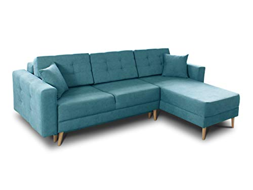 Ecksofa Porto - Sofa, Eckcouch, Couch mit Schlaffunktion und Bettkasten, L-Form, Schlafsofa mit Stoffbezug, Bettsofa, Skandinavisch Polstergarnitur (Blau (Soro 86))