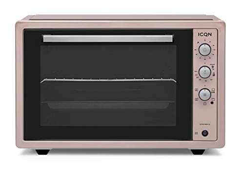 ICQN 70XXL Mini-Öfen | 1800 W | Mini-Backofen mit Innenbeleuchtung und Umluft | Pizza-Ofen | Doppelverglasung | Drehspieß | Timer Funktion | Emailliert | Inkl. Schürze | Rosé