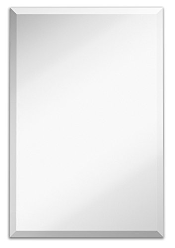 Large Simple Rectangular Streamlined 1 Inch Beveled Wall Mirror | Premium Silver Backed Rectangle...